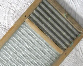 vintage washboard . washboard . lingerie washboard . glass and galvanized zink washboard