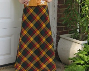 Long plaid Skirt . plaid Skirt . Plaid Maxi Skirt . 70s plaid skirt
