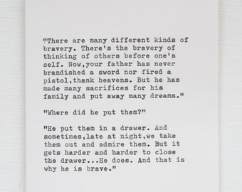 A Card For Fathers - Typewritten - Bravery Conversation Between Mrs.Darling and Michael-Peter Pan