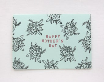 Mother's Day Card - Hand Printed Floral Illustration