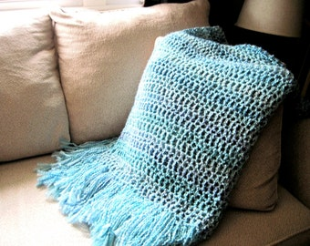 Turquoise Throw Blanket, Super soft with fringe, turquiose with blue through out home design, interior design home decor MADE TO ORDER