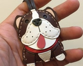 Small size - CoCo the English Bulldog cowhide leather charm ( Dark Brown )