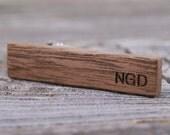 Personalized Skinny Tie Clip - American Walnut Wood - Custom Engraved