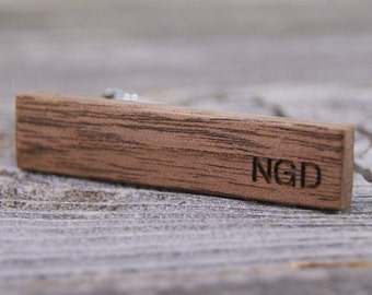 Personalized Skinny Tie Clip - American Walnut Wood - Custom Engraved