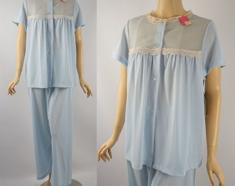 1960s Pale Blue Nylon Pajamas by Heiress New With Tags NOS Sz 40