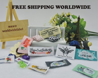 400pcs Custom Damask Woven labels Artwork Clothing Labels - personalized name labels free design your tag logo high density weave fabric