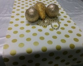 GOLD DOT RUNNER- Table Runner or Napkins -or Placemats -Centerpiece Rounds, Squares , Gold metallic polka dots on white or on black,  bridal