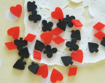 20 pcs Assorted Teeny Heart Diamond Spade Clover (6-9mm) DR528