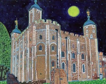 Tower Of London. A limited edition, numbered and signed A4 print from an Original Painting by Richard Friend