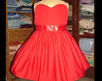 Scarlet Overkill Dress(-----)Sweetheart Neckline and Transparent Straps(-----)Made to order in sizes 12 months to Girls size 8