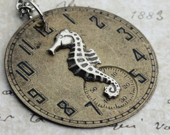 Seahorse Necklace, Watch Face Necklace, Steampunk Necklace, Antique, Vintage, Handmade, Recycled Jewelry