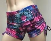 Hot Yoga Shorts Pink Kaleidoscope Low Rise  SXYfitness Brand Item #1263 Sizes xxs-xxl (00-18 US)