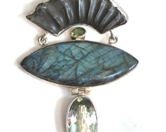 Ammonite Fossil Labradorite Peridot and Green Amethyst Statement Necklace on Oxidized Silver Chain