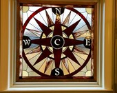 "Stained Glass Panel - ""Compass Rose"" (P-46)"