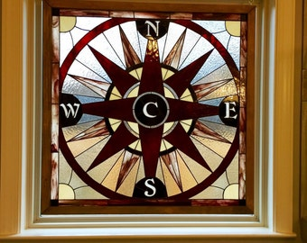 """Stained Glass Panel - """"Compass Rose"""" (P-46)"""