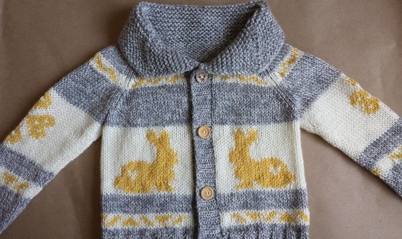 Rabbit Sweater Knitting Pattern : Bunny sweater cowichan style knitted children s