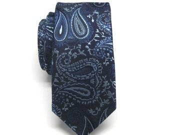 Mens Ties Red Midnight Blue Royal Blue Paisley Skinny Necktie