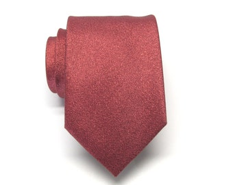 Mens Ties. Necktie Lamé Red Metallic Tie with Matching Pocket Square Set