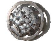 Vintage Stavre Gregor Panis Brooch Sterling Silver Art & Crafts Floral Pin