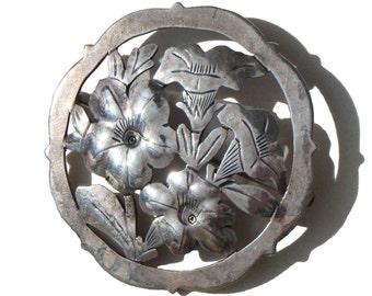 Vintage Stavre Gregor Panis Brooch SGP Sterling Silver Art & Crafts Floral Pin
