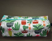 Boxy Makeup Bag - Small Succulents and Cacti Print Zipper - Pencil Pouch