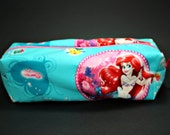 Boxy Makeup Bag - Ariel from Disney's The Little Mermaid Badge Print Zipper - Pencil Pouch with Sebastian and Flounder