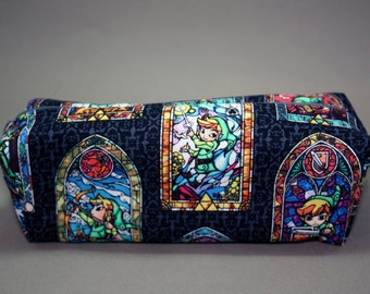 Boxy Makeup Bag - Legend of Zelda Stained Glass Print Zipper - Pencil Pouch