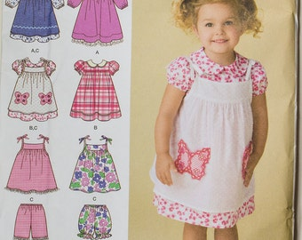 Simplicity Little Girl's Summer Dress Pattern Unused -Uncut size A - 6months -4years- Dress, Pinafore, Bloomers /pants/shorts