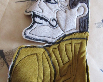 """Quirky Large Vintage Trapunto Style Machine Embroidered OOAK Applique 10x14"""" Man with Moustache Holding Wine Bottle"""