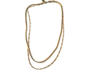 Vintage Brass Chains Necklace - Double Chain Necklace - Coppery Brass - Layers Necklace (SD1043)
