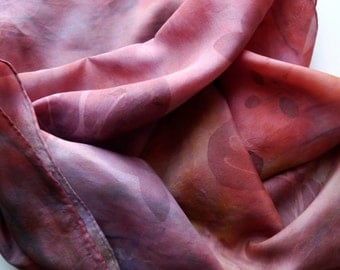 Hand painted long silk Scarf  abstract petals