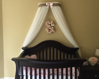 Crib Canopy Crown Gender Neutral Bed Pink Burlap Linen Nursery FREE white sheer curtains INCLUDED Custom Baby designed So Zoey Boutique SALE