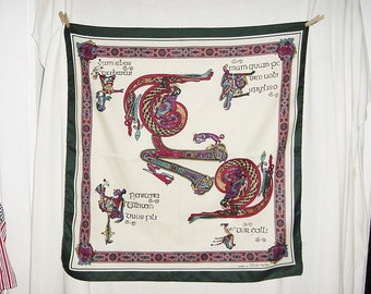 Vintage Celtic Book of Kells  Print Square Scarf Polyester 27 in