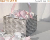 10% off ends at 5pm Flower Girl Basket + Silver Rhinestone wrapped wood Flower Girl Basket with ribbon Handle  (6 x 6)