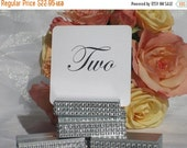 25% off Ends at 5pm Table Number Holder + Silver Wedding Table Number Holder + SilverTable Number Holders wrapped with a crystal wrap- Set o