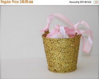 20% off ends 5pm today Flower Girl Basket + Gold Glitter Flower Girl Basket