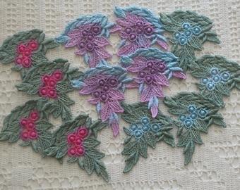 Crazy Quilt Hand Dyed Venise Lace Appliques, Trim Embellishment