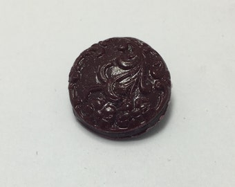 Floral Scroll - Maroon Red - Hand Made Clay Button