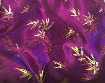 Purple Bamboo - Faux Silk Brocade Fabric - 1 Yard