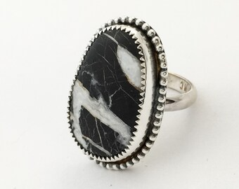 White Buffalo Turquoise Sterling Silver Ring READY TO SHIP Southwestern Boho Chic Statement Jewelry