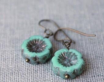 On SALE / CIJ Sale / Mint Garden Earrings Mint Green Flower Pansy Boho Chic Jewelry Bohemian Jewellery Brass Drop Earrings Spring Garden Dan