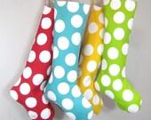 Christmas Stocking - Modern Polka Dots - Blue - Boy Girl Family - Name Initial -  Holiday Stocking