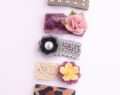 newborn baby girls bitty hair clips collection - floral leopard snap clips set, studded purple woven lace leopard baby hair clips