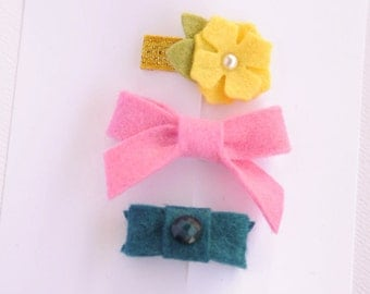 newborn baby girls bitty hair clips collection - flower, bow, bitty snap clip set of three baby hair clips