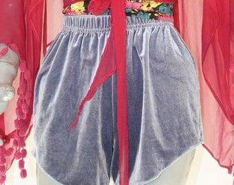 Velvet High Waisted Shorts - Lavender
