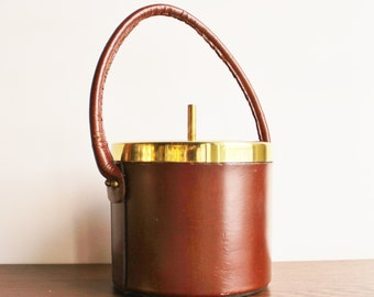 Vintage leather and glass ice bucket, glass insert