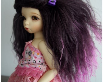 Dark Purple with Pink tips tibetan mohair wig size 6/6,5 for unoa, narae, littlefee