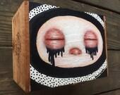 Hand painted cigar box eyes closed