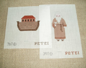 An adorable Noah and and his  ark needlepoint canvas set