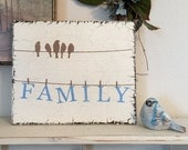 FAMILY, Family Sign, Housewarming Gift, Home Decor, Birds on Wire,  10 x 12